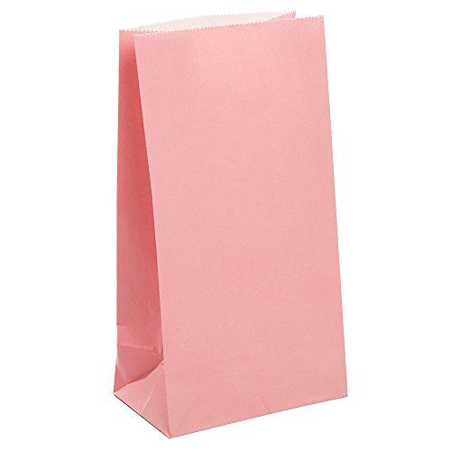 Unique Party - 59001 - Paquet de 12 Sacs Cadeaux - Papier - Rose Pastel
