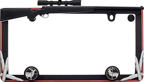 2x Hunting Rifle Metal License Plate Frame - Deer Hunter Red Black Premium Frame Cover