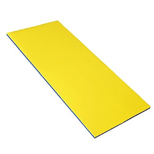 Rubeyul Alfombra flotante para el agua, colchoneta flotante para piscina, isla de natación, suave y cómoda para tomar el sol, deportes acuáticos (amarillo/180 x 50 cm)