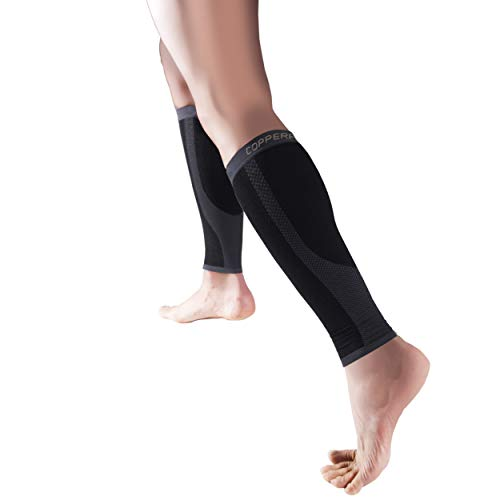 Copper Fit Copper Infused Compression Calf Sleeves, Black, L/XL
