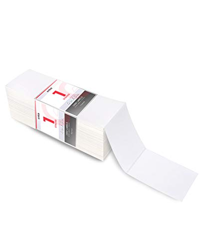 """enKo 4"""" x 6"""" Fanfold Direct Thermal Labels Compatible for Rollo Zebra Printer Labels - White Shipping Mailing Postage Labels, Perforated, Permanent Adhesive (1 Stack - 1000 Labels)"""