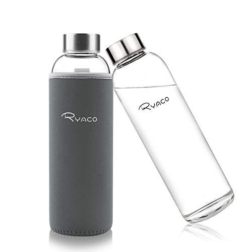 Ryaco Botella de Agua Cristal 550ml, Botella de Agua Reutilizable 18 oz, Sin BPA Antideslizante Protección Neopreno Llevar Manga y Cepillo de Esponja (550ml, Gris Oscuro)