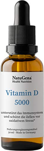 NatuGena Vitamin D3, für ein startkes Immunsystem, 50ml 1750 Tropfen Familienpackung, 1 Tropfen alle 5 Tage