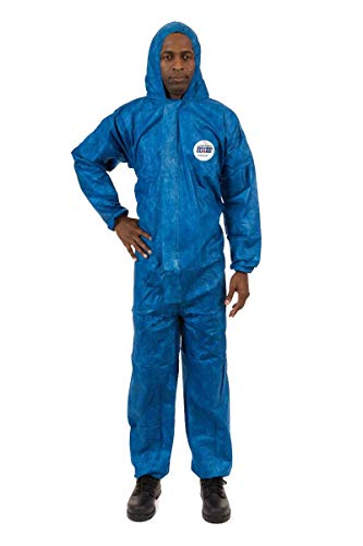 ViroGuard Disposable Coveralls Biohazard Suit with Hood   Comfortable Full Body Splash Suit   Hazmat Protection for Medical, Chemical, and Cleaning (Blue) (Case of 25) (3XL, Elastic Wrists & Hood)