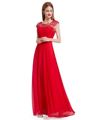 Ever-Pretty Vestido de Fiesta Encaje Gasa Cuello Redondo Corte Imperio A-línea para Mujer Rojo 52