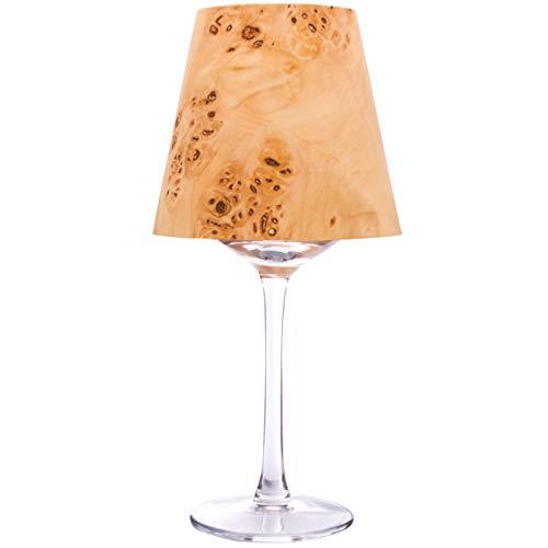 Windlicht LUCY – Weinglas als Teelichthalter. Lampenschirm aus Holz Furnier. Teelichthalter Holz. Kerzenhalter. Inkl. Weinglas (Windlicht Glas) + Maxiteelicht + Unikat Lampenschirm aus Furnier.