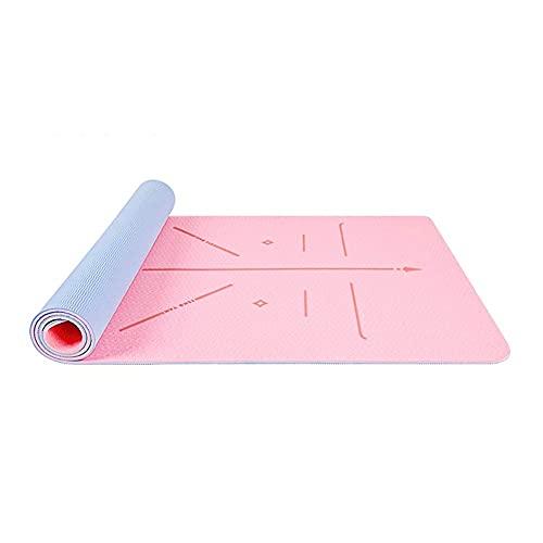 Alfombra de yoga para las mujeres EXTERCISE MATS TPE Pilates Mat Mat de aptitud antideslizante extra gruesa con bolsa de entrenamiento de bolso de transporte para entrenamientos de piso Ejercicios de