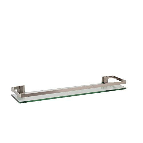 Organize It All Wall Mounting Glass Shelf with Nickle Finish and Rail