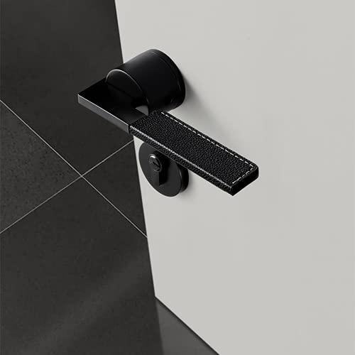 WANZSC Cerradura de puerta de cuero manija de la puerta de la cerradura de la puerta del cuero minimalista, luz de lujo interior silencio negro níquel Split Lock (03)