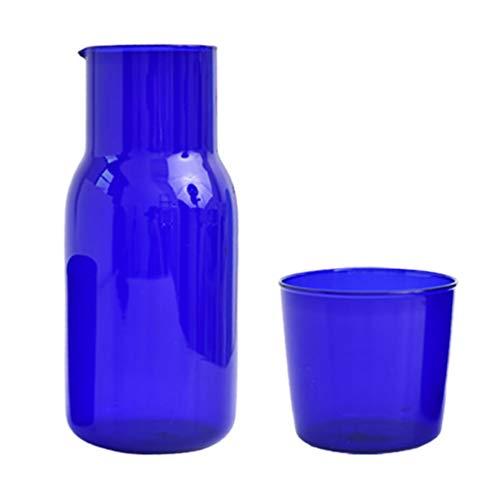 Cabilock Blu Comodino Comodino di Notte Caraffa Brocca E Bicchiere di Vetro Set 500Ml di Acqua Caraffa di Vetro Tazza di Acqua per Il Succo di Frutta Vino Bere