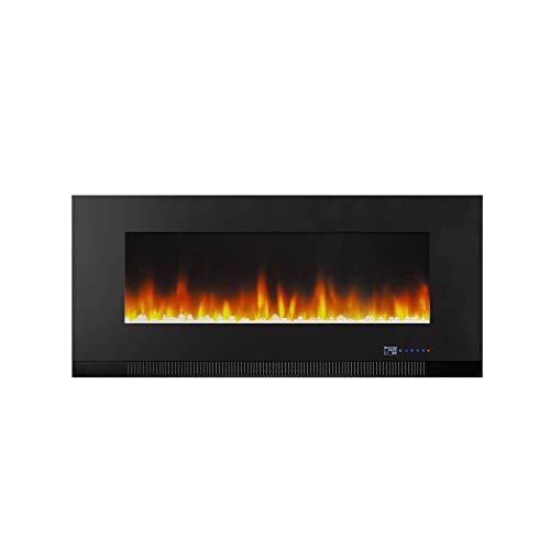 Amazon Basics – Chimenea eléctrica multicolor de 107cm, para montaje en pared, con iluminación LED 3D, con control remoto, 1300W