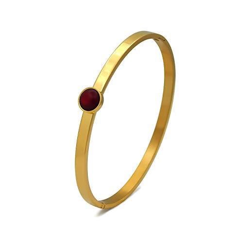 Damen Armreif Edelstahl vergoldet 4mm breit mit Polaris Cabochon Rot 7mm mit Schließe oval nickelfrei Gold