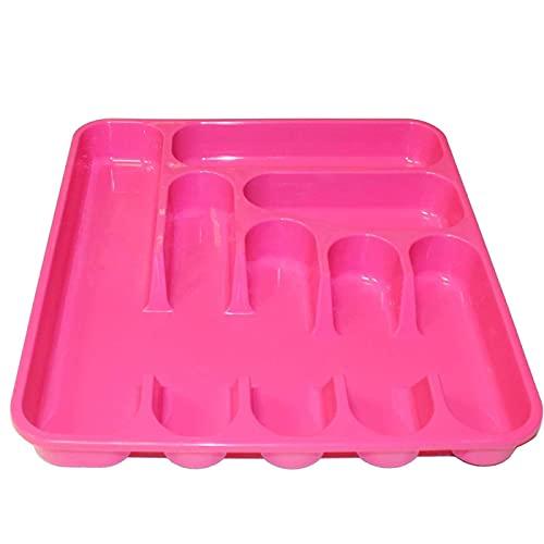Bandeja organizadora de plástico, de color surtido, de 5 x 37,5 x 41,5 cm, Recipiente para ordenación y almacenamiento de cubertería. Cubertero para guardar cubiertos con compartimentos.