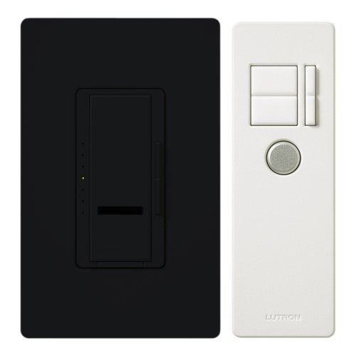 Lutron Maestro IR Dimmer Switch for Incandescent and Halogen Bulbs, Single-Pole, with IR Remote Control and Wallplate, MIR-600THW-BL, Black (Tools & Home Improvement)
