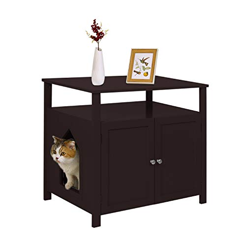 YGBH Cat Litter Box Enclosure,Hidden Litter Box, Furniture Large Box House with Table,Spacious Storage, Easy Assembly Cat Litter Funiture (Brown)