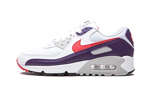 Nike Zapatos de mujer Air Max 90 Berenjena CW1360-100, (Blanco/Eggplant-Flare-zen Grey), 41 EU