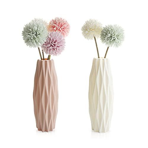 GmeDhc vasi per piante, 2 Pezzi Vaso di Fiori balcone Colorati vasi in Plastica per Fiori, per Arredo Casa, Giardinaggio, Vasi da Fiori per Interni, Decorazioni per interni (Rosa e bianco)