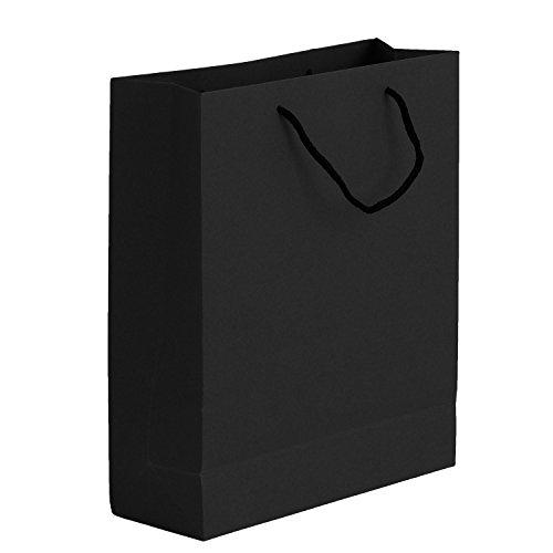 10 Stück Verdickte Papiertüten mit Henkel Geschenktüten Papiertragetaschen Geschenktaschen Kraftpapier Tüten Geschenktüten für Lebensmittel Backen Merchandise Boutique Einzelhandel Schwarz 28*10*33cm