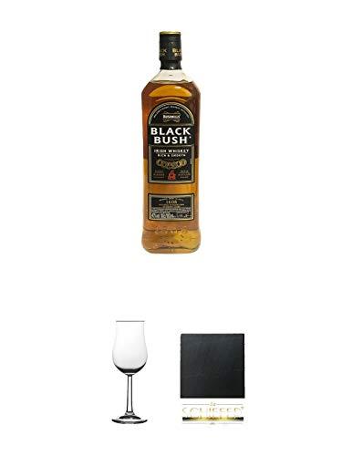 Bushmills Black Bush Irish Whiskey Country Antrim 1,0 Liter + Whisky Nosing Gläser Kelchglas Bugatti mit Eichstrich 2cl und 4cl 1 Stück + Schiefer Glasuntersetzer eckig ca. 9,5 cm Durchmesser
