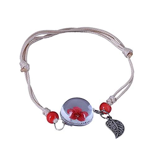 Moda bola de cristal seca flor pulsera hecha a mano cuentas joyería para mujeres hombres niñas niños, talla única, Metal, Piedra solar de cobre,