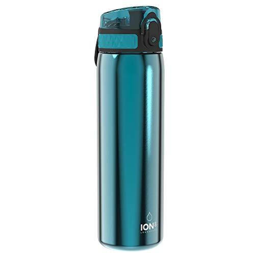 Ion8 Acero Inoxidable Botella Agua, Sin Fugas, Aqua, 600ml