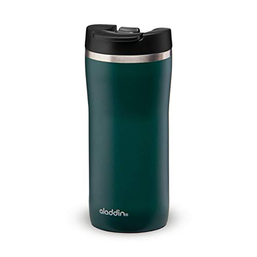 Aladdin Barista Mocca Thermavac Leak-Lock Stainless Steel Travel Mug 0.35L Basil Green Double Wall Vacuum Insulation One Hand Leakproof For Coffee On The Go