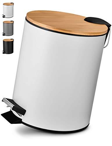VMbathrooms 5L Kosmetikeimer in edlem weißem Design/Tretmülleimer mit Absenkautomatik (Soft Close) / Eleganter Eimer fürs Bad mit Innenbehälter und Bambus-Holzdeckel