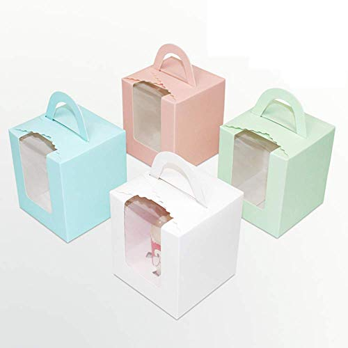 50 Pcs Single White Cupcakes Containers Gift Boxes with Window Inserts Handle for Wedding Candy Boxes,for Bakery Wrapping Party Favor Packing