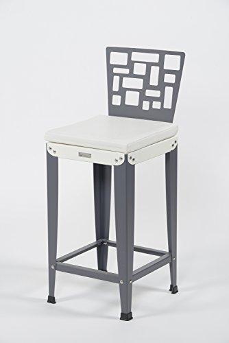 Styl'Métal 21 Lot 2 chaises de Bar Lilou D5 métal Blanc et Anthracite H80