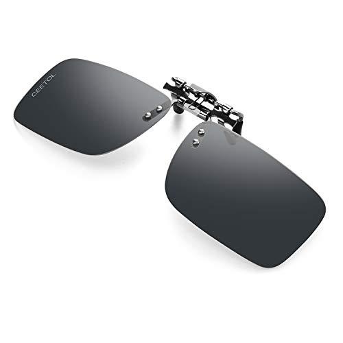 クリップオン 前掛け偏光サングラス サングラス めがねの上から ワンタッチ装着 スモーク メガネに取り付け