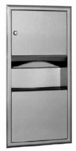 Bobrick 369 ClassicSeries 304 Stainless Steel Recessed Paper Towel Dispenser and Waste Receptacle, Satin Finish, 2 Gallon Capacity, 14