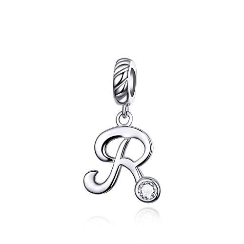 Abalorio con inicial de letra R de cristal transparente, compatible con pulseras europeas Pandora.
