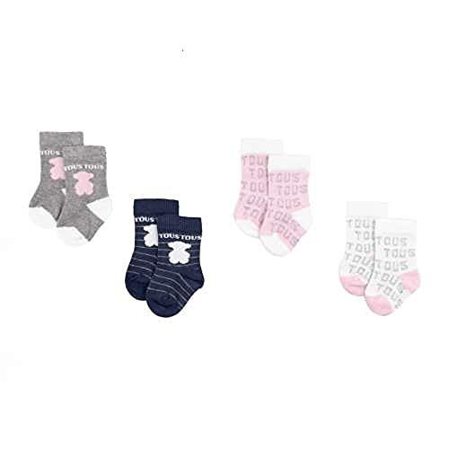 TOUS BABY - Set 4 calcetines variados, con logo TOUS para tu Bebé. Color Rosa (0 a 3 meses)