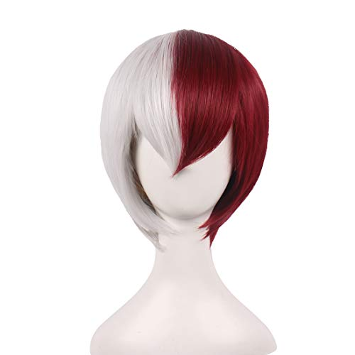 wildcos Short Red/Silver White Cosplay Wig for Men