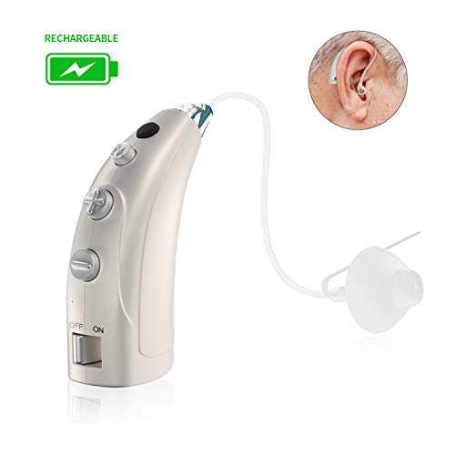 Blomed Rechargeable Hearing Amplifier, Digital Noise Reduction Personal Sound Amplifier for Adults and Seniors, Fit Left and Right Ear, Hearing Aid Cleaning Brush Included