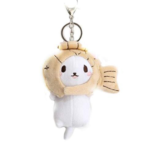 display0 Llavero lindo gato de dibujos animados con pez/fresa cabeza de juguete colgante bolsa llavero llavero titular bolsa decoración regalo café