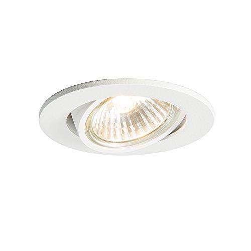 QAZQA Design/Modern Einbauspot neigbar weiß - Cisco/Innenbeleuchtung/Wohnzimmerlampe/Schlafzimmer/Küche Aluminium Rund LED geeignet GU10 Max. 1 x 50 Watt