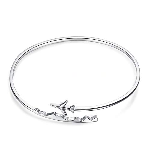 JewelryPalace 925 Sterling sizes adjustable Open Bangle Bracelet AB307900 Größen verstellbarer Armreif