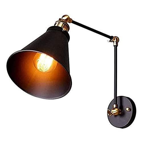 Luz de la pared europea Lámpara de pared de brazo de swing industrial Lectura de la cama Lighting Wall Sconce Black Socket Irnel Funnel Shade Retro E27 Luces de pared Lackxtures para sala de estar Sal
