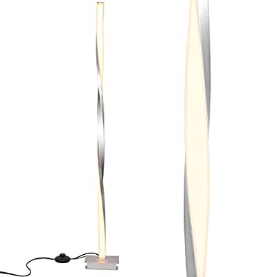 """Modern LED Floor Lamp, 360° Without Shadow Modern Lighting, 20W Silver Single line Floor Light for Living Room, Bedrooms, Offices, Dimmable Contemporary Indoor Pole Lamps - 48"""" Platinum Silver"""