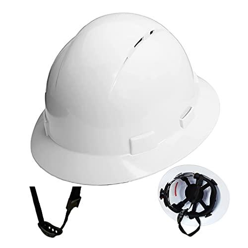 Casco de Ala Completa Transpirable Y Protector Solar Casco de Seguridad para Trabajos de Construcción Suspensión de Trinquete Ajustable de 6 Puntos Cumplimiento de Las Normas Internacionales de Ins ⭐