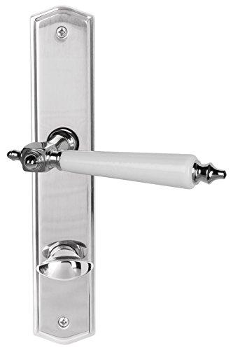 Süd-Metall 32767240 Südmetall Türbeschlag Thor-Langschild Edelstahlfarbig-poliert/weiß für Badezimmertüren Türgriff Türklinke Türdrücker Beschlag