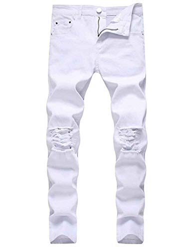 HUNGSON Men's Stretchy Ripped Skinny Jeans Taped Slim Fit Denim Jeans White