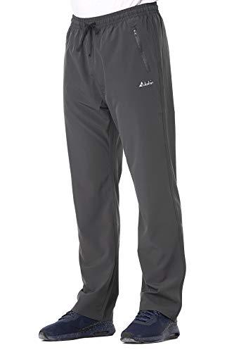 Clothin Men's Stretch Elastic-Waist Drawstring Pants With Front Zipper Pockets,Grey,M (33-35W*30.5L/Regular)