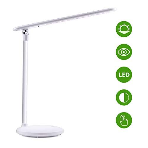 Lampada Scrivania 36 LED USB, Lampada Ricaricabile con 180° girevole+3 Colore di Luce+Regolazione della luminosità ILLIMITATA, Controllo Tattile. Lampada Tavolo con Efficienza Energetica+[Occhi-Cura]