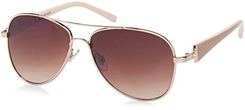 styleBREAKER elegante Damen Pilotenbrille getönt, Sonnenbrille mit lackierten Bügeln und Strassstein 09020053, Farbe:Gestell Gold-Braun/Glas Braun verlaufend