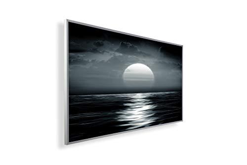 Könighaus Fern Infrarotheizung – Bildheizung in HD Qualität mit TÜV/GS - 200+ Bilder -450Watt - Patentiert -Weißer_Rahmen(046. Sonnenuntergang Meer) Black Edition