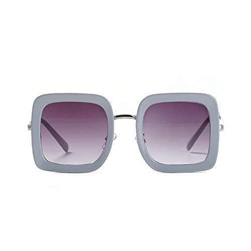 HAOMAO Gafas de sol graduadas de espejo de gran tamaño cuadradas con marco de aleación para mujeres y hombres Gafas de sol grandes Uv400 Gris