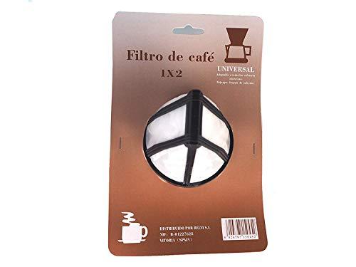 Sanfor Filtro Permanente para Cafetera tradicional americana 1x2 unidades, Universal, Larga duración, Reutilizable, Nylon