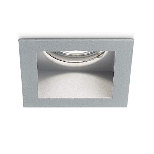 Faretto Incasso Metallo Gea Led Gfa491 Led Spot Grigio Opaco Quadrato Ottica Fissa Incavata Cartongesso Interno Gu10 Ip20